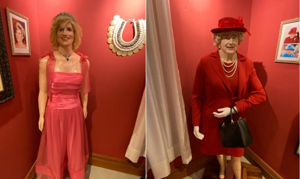 Empresário expõe estátuas de cera da Princesa Diana e da Rainha Elizabeth II em um museu que construiu e mantém em Rolândia — Foto: Arlindo Armacollo/Arquivo pessoal