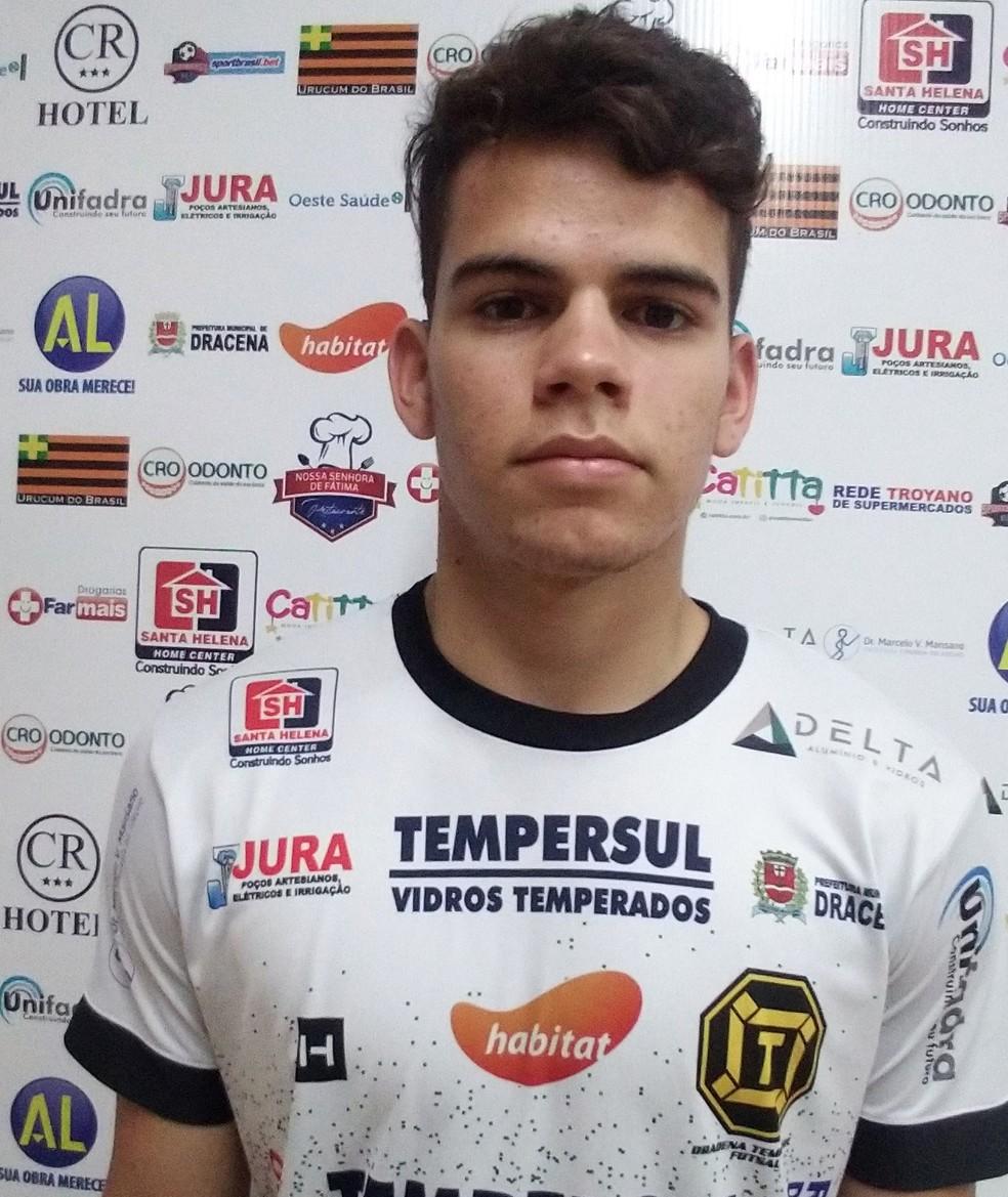 Nascido em Messias Targino, Felipe estava na equipe de Capinzal (SC) — Foto: Dracena Futsal / Divulgação