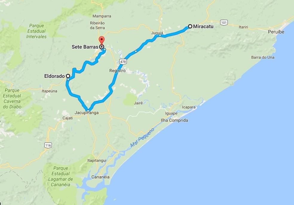 Últimos registros da Jiboia do Ribeira foram em Miracatu, Eldorado e Sete Barras — Foto: Reprodução/Google