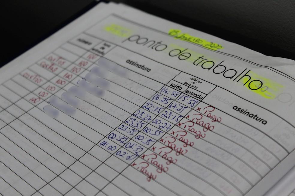 Folha de ponto era utilizada para verificar frequência das moças — Foto: Rickardo Marques/G1 AM