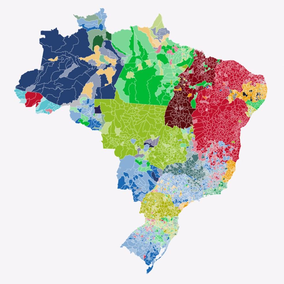 Mapa mostra apuração dos votos para governador — Foto: Arte G1