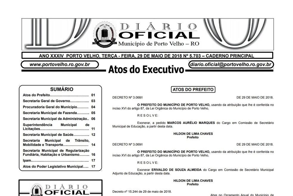 Prefeito anunciou exoneração no Diário Oficial (Foto: Reprodução)