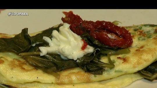 Aprenda a fazer uma crepioca regional de jambu com queijo do Marajó