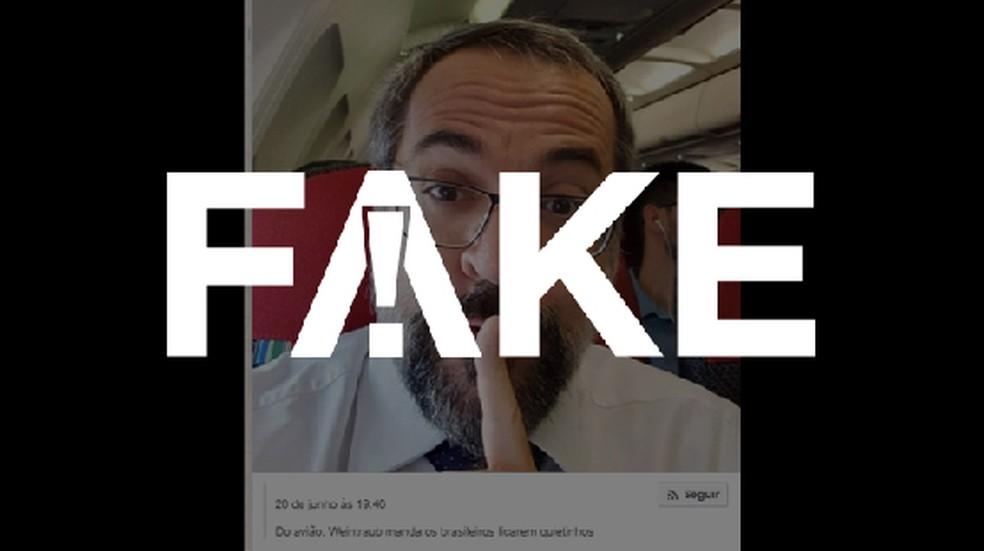 É #FAKE que foto mostre Weintraub pedindo silêncio após demissão e saída do Brasil — Foto:  Reprodução