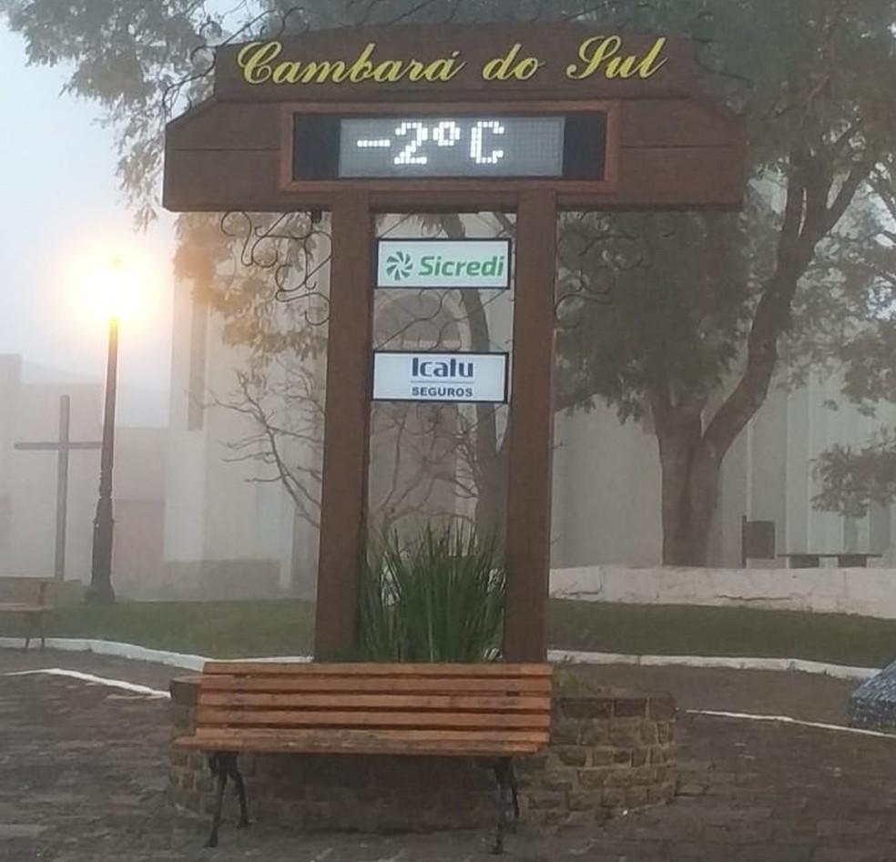 Temperatura no termômetro de rua em Cambará do Sul (Foto: Rudinei Castangna/Ecotours)