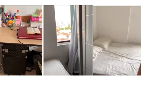 Ela estuda no quarto, que também tem vista para a rua Reprodução/Instagram