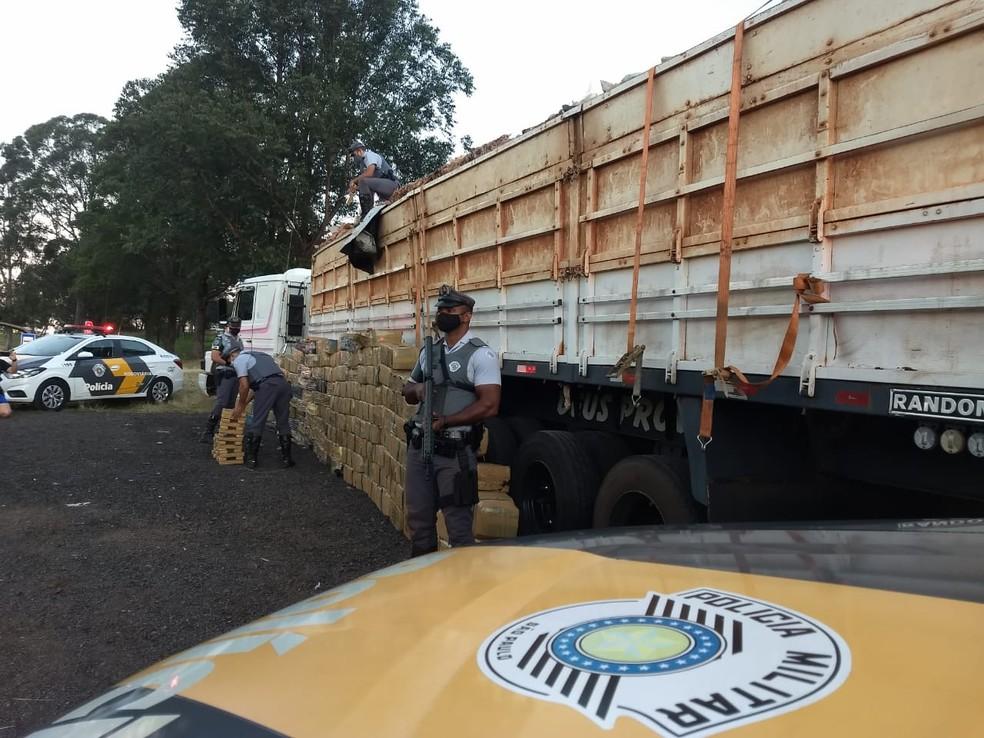Grande quantidade de droga foi apreendida nesta segunda-feira (3) — Foto: Polícia Militar Rodoviária