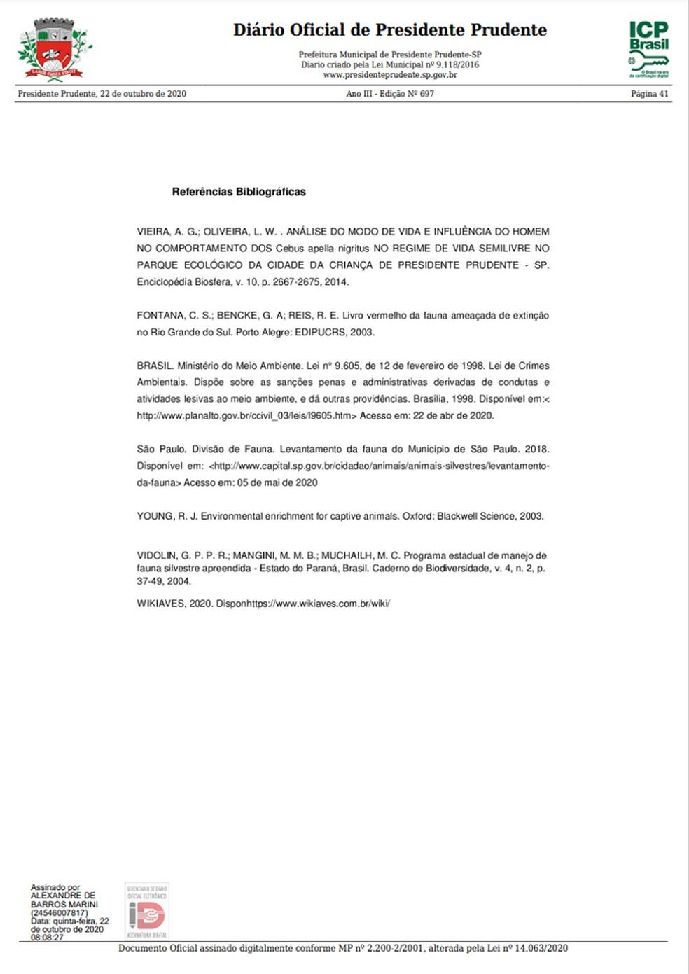Levantamento prévio da fauna em Presidente Prudente foi publicado nesta quinta-feira (22) no Diário Oficial do Município, pág. 26 — Foto: Reprodução