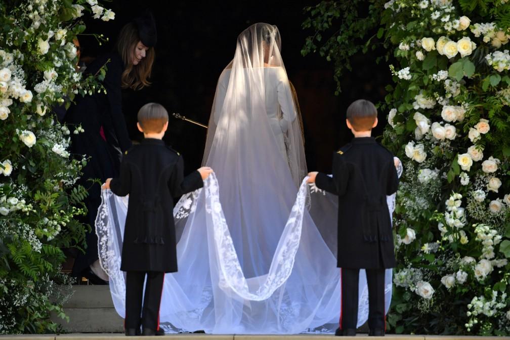 Meghan Markle entrando na capela de So Jorge Foto Ben STANSALLPool via REUTERS