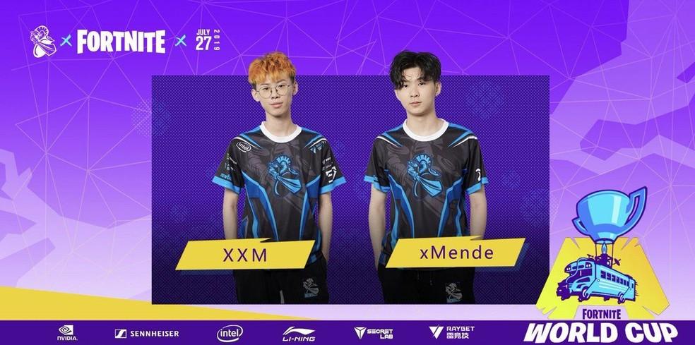 XXM e xMende na Copa do Mundo de Fortnite — Foto: Divulgação/Epic Games