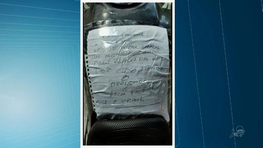 Ladrões devolvem moto no CE após 'missão' e deixam recado: 'Obrigado'
