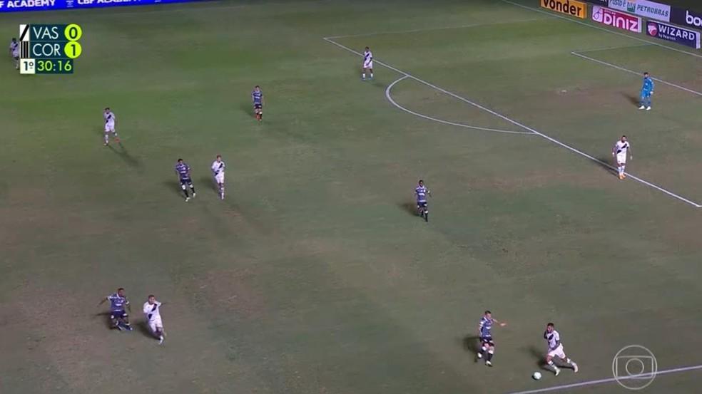 Marcação alta do Corinthians diante do Vasco — Foto: Reprodução