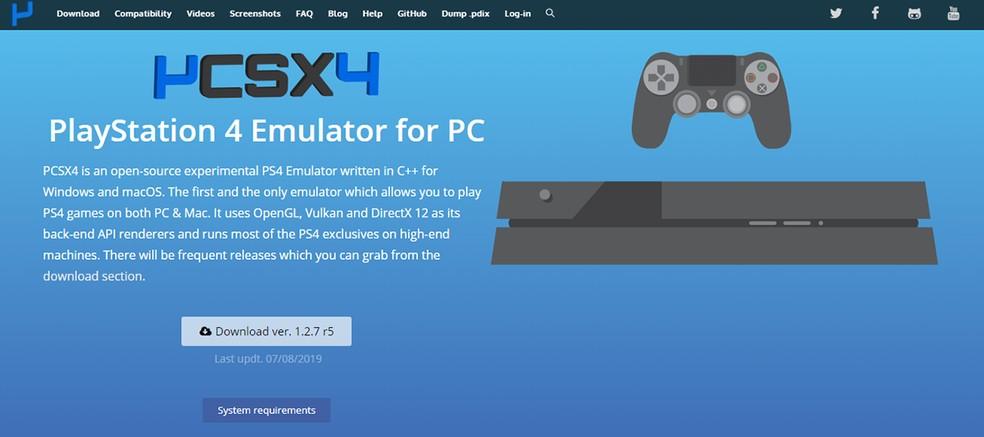 PCSX4 é um emulador falso de PlayStation 4 que apenas leva usuários para página com propagandas e download de aplicativos suspeitos. — Foto: Reprodução