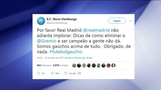 """Novo Hamburgo brinca com Real: """"Dicas de como eliminar o Grêmio a gente não dá"""""""