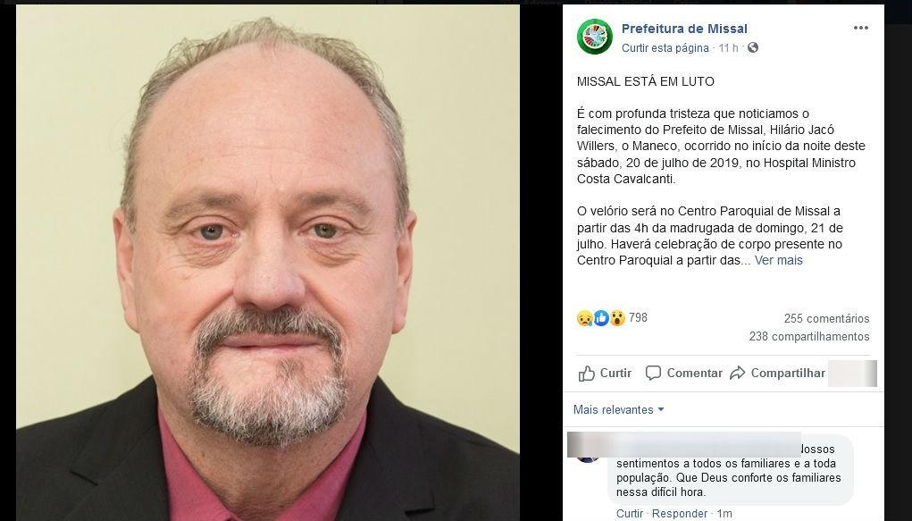Prefeito de Missal morre aos 57 anos após sofrer infarto  - Notícias - Plantão Diário