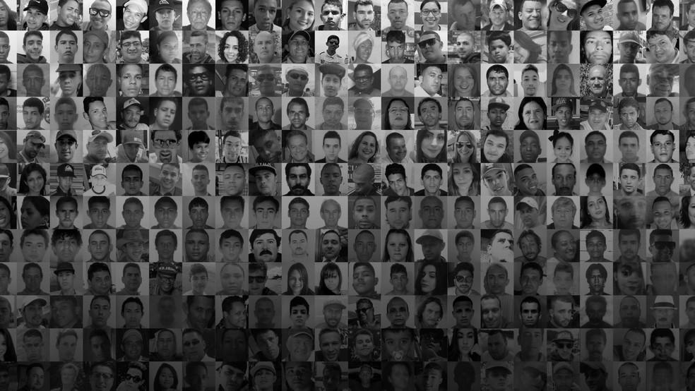 Montagem com vítimas de mortes violentas para especial do G1 (Foto: Editoria de arte/G1)