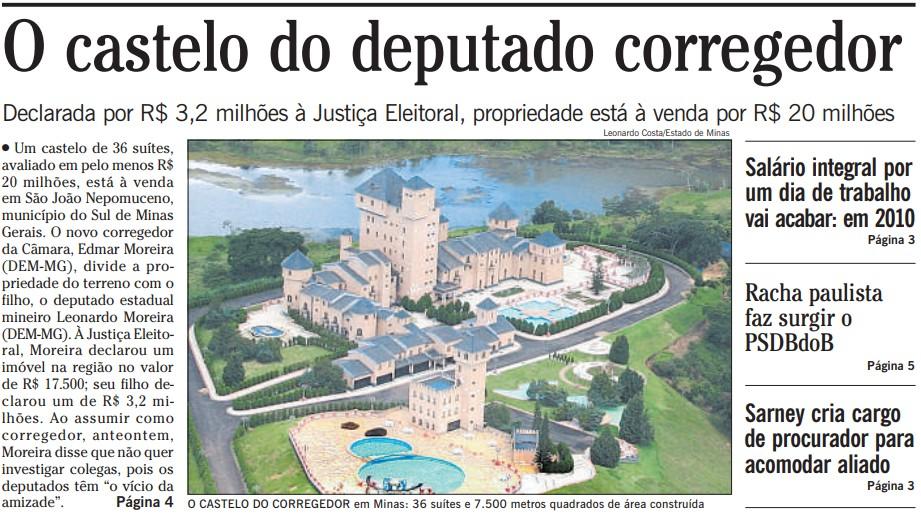 Manchete da capara do jornal O Globo sobre o deputado Edmar Moreira e o castelo, em fevereiro de 2009