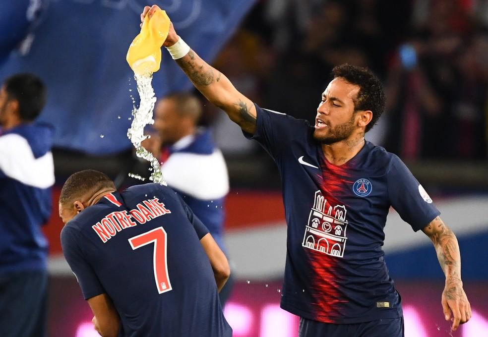Neymar celebrou título francês com o PSG no último fim de semana — Foto: AFP