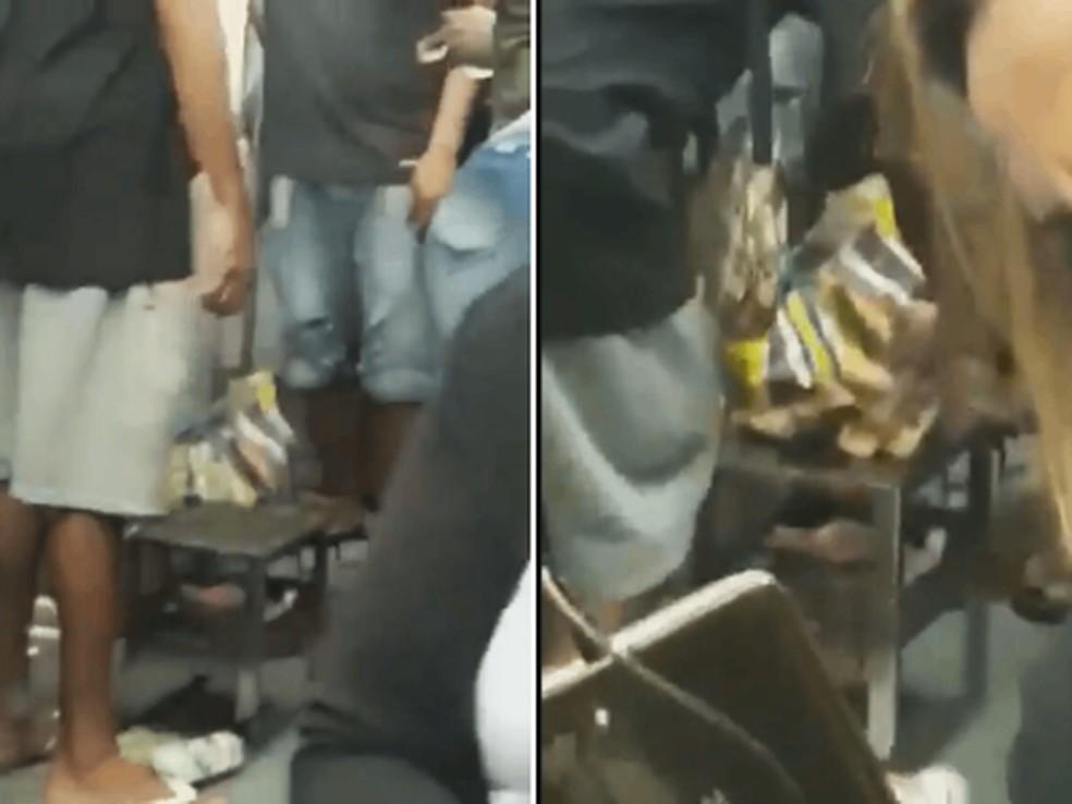 Uma churrasqueira foi colocada dentro do vagão do trem — Foto: Reprodução/redes sociais