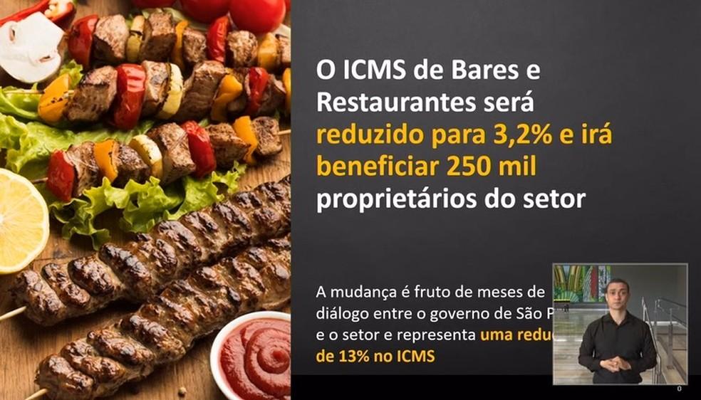 Anúncio de redução do ICMS no estado de São Paulo para bares e restaurantes — Foto: Reprodução/Youtube