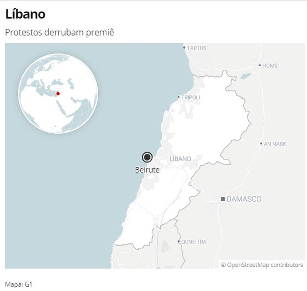 Mapa do Líbano — Foto: G1