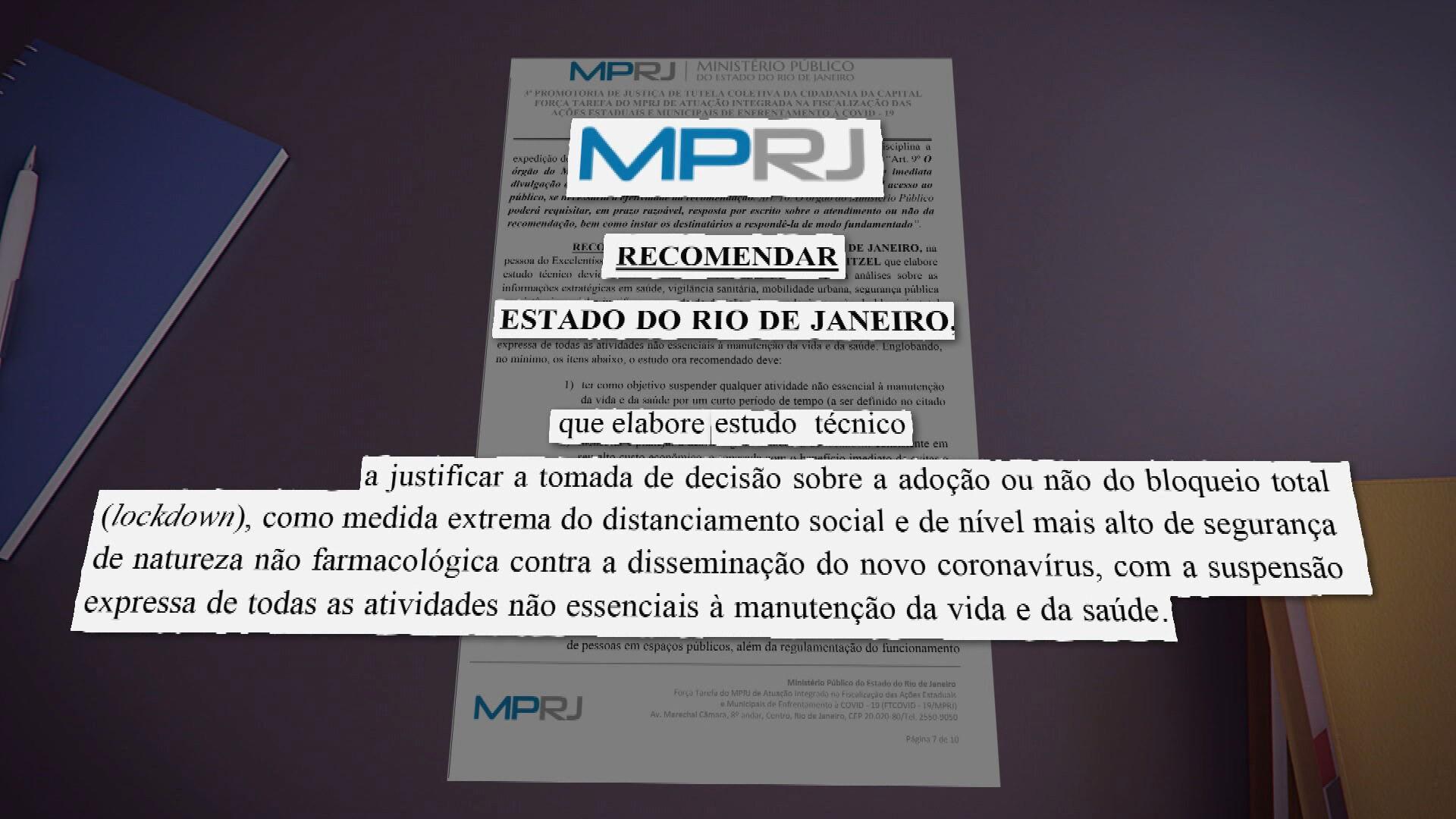 MP quer mais detalhes do governo do RJ sobre possível lockdown