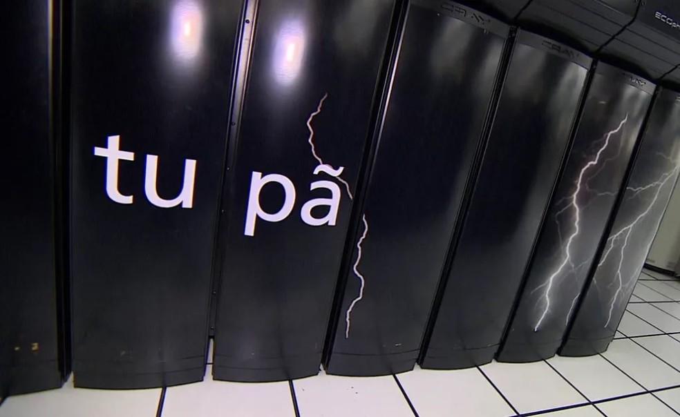 Supercomputador Tupã onde são feitos os dados da previsão do tempo — Foto: Reprodução/TV Globo