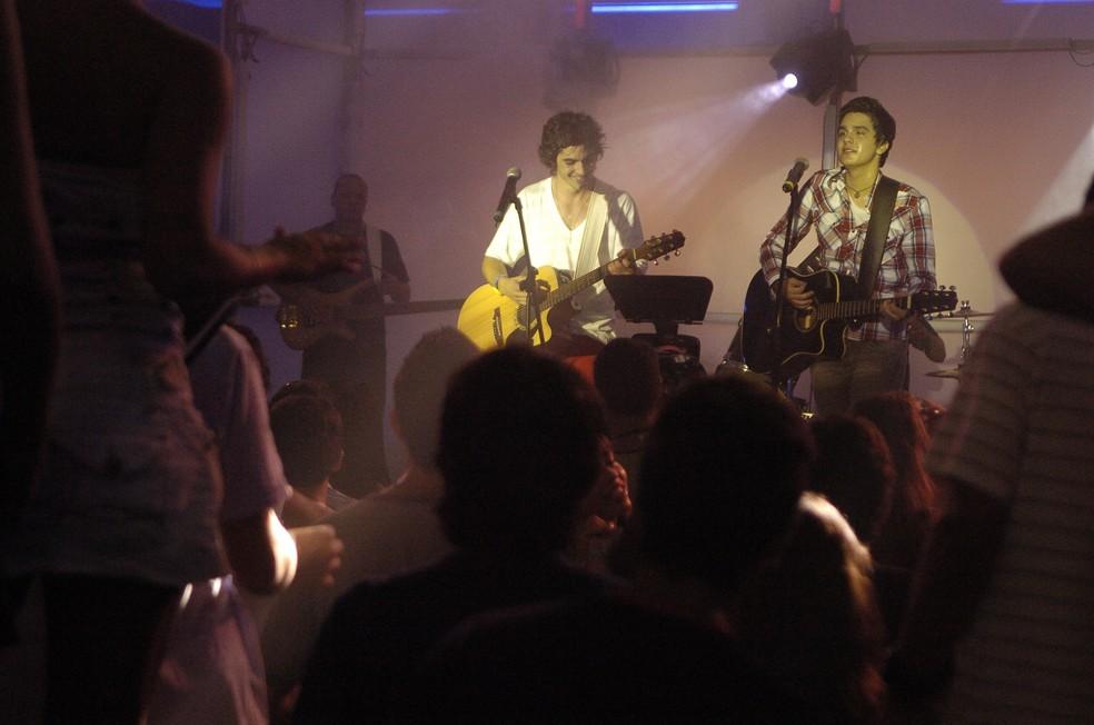 Luan até dividiu o palco com Fiuk (Foto: Marcio de Souza/Globo)
