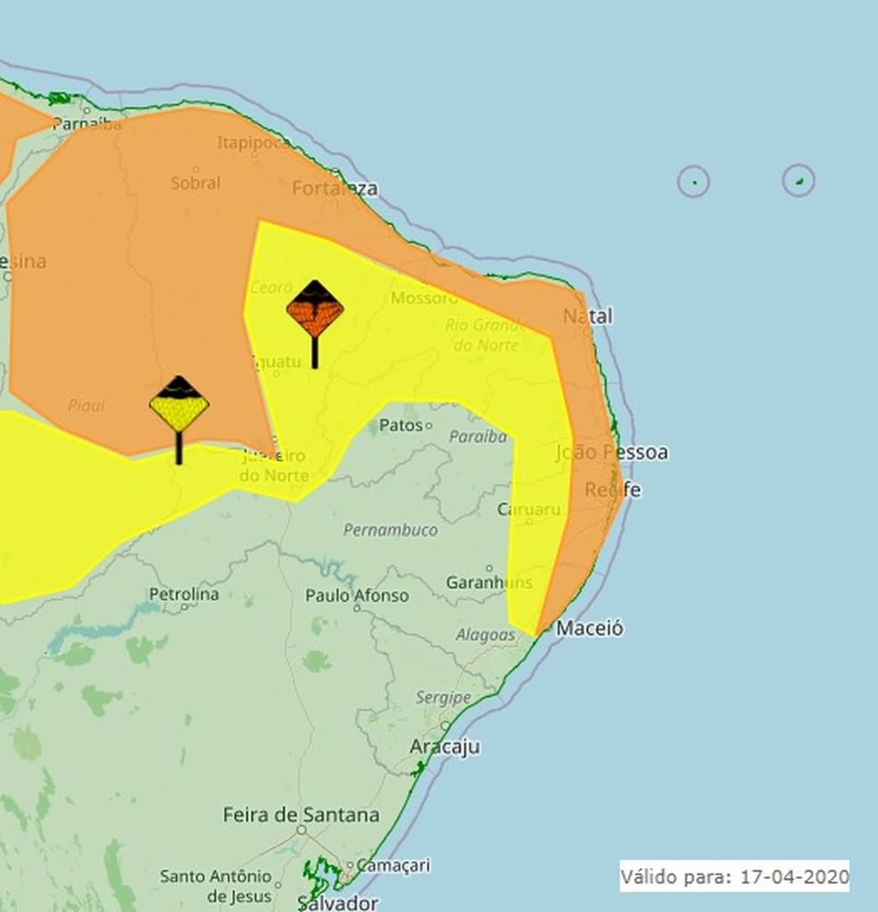 Alerta de chuvas para 164 cidades da Paraíba — Foto: Reprodução/Inmet