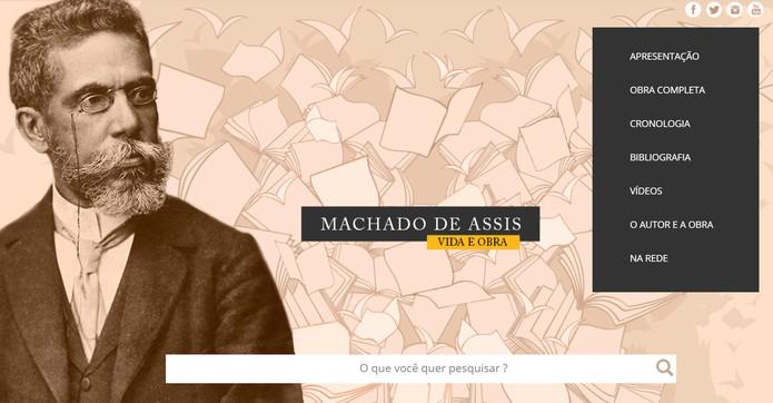 Site do MEC lembra centenário da morte de Machado de Assis e disponibiliza a obra completa do escritor (Foto: Reprodução/Machado de Assis)