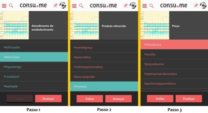 Os três passos para avaliar um estabelecimento no Consu.me (Foto: Reprodução/Raquel Freire)