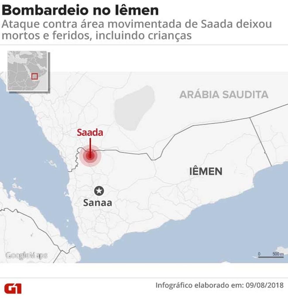 Bombardeio no Iêmen deixa mortos e feridos (Foto: Claudia Ferreira / G1)