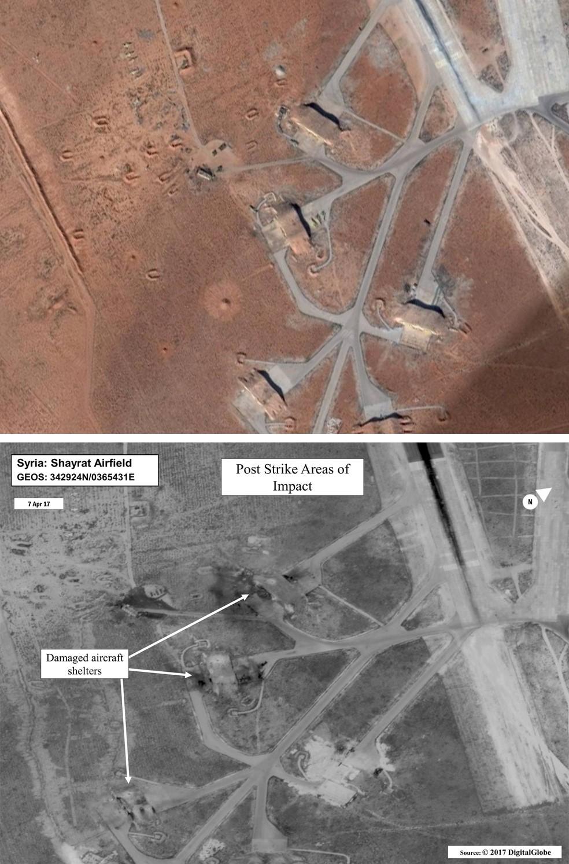 Imagem mostra a base aérea de Al Shayrat antes (acima) e depois (abaixo) do ataque americano com mísseis Tomahawk (Foto: Google Earth e Digital Globe via AP)