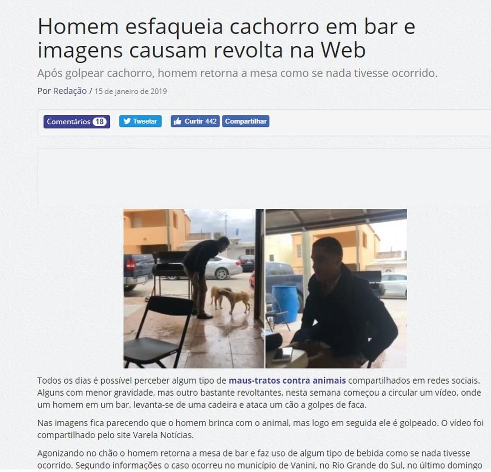 Texto que circula diz que caso ocorreu no Brasil — Foto: Reprodução