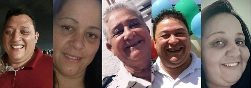 Cinco pessoas da mesma família morrem por complicações da Covid — Foto: Montagem/Reprodução/Redes sociais