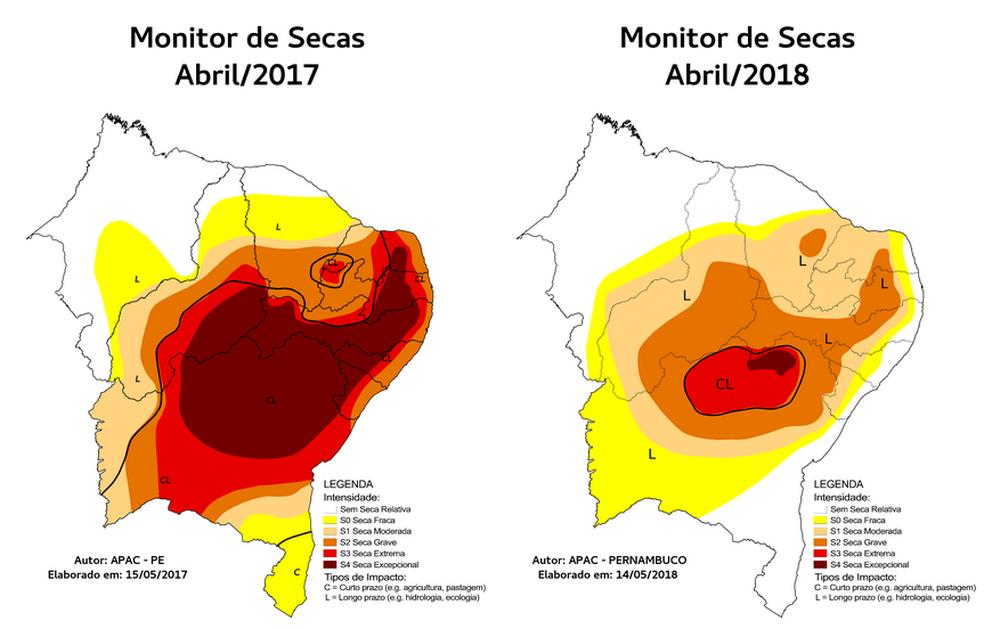 Monitor de Secas do Nordeste destaca que redução da seca relativa diminuiu. (Foto:  Monitor de Secas do Nordeste do Brasil)