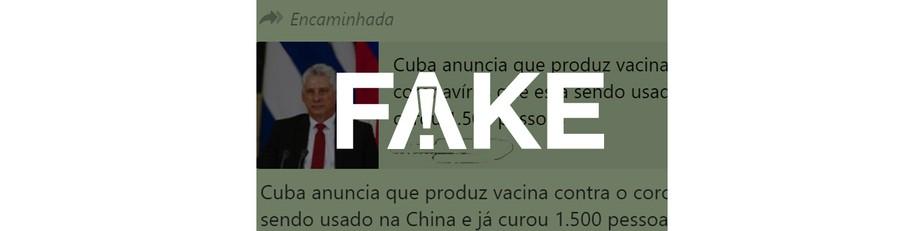 É #FAKE que Cuba tem enviado vacina contra o coronavírus para a China
