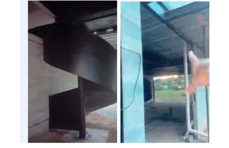 A casa, que fica em São Paulo, tem duas escadas para o segundo andar  Reprodução