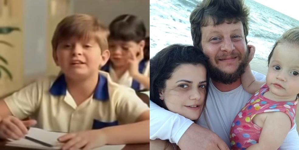 O ator Caio Reiss que interpretou o Herman em imagem do filme lanado em 1995 e em 2020 com a esposa e a filha que ele chama de Bu e Hermanzinha Foto Reproduo esquerda e arquivo pessoal direita