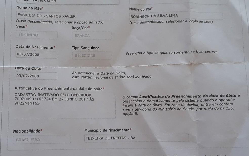 Mãe de criança denuncia falso óbito em cartão SUS (Foto:  Fabricia dos Santos Xavier/ Arquivo Pessoal)
