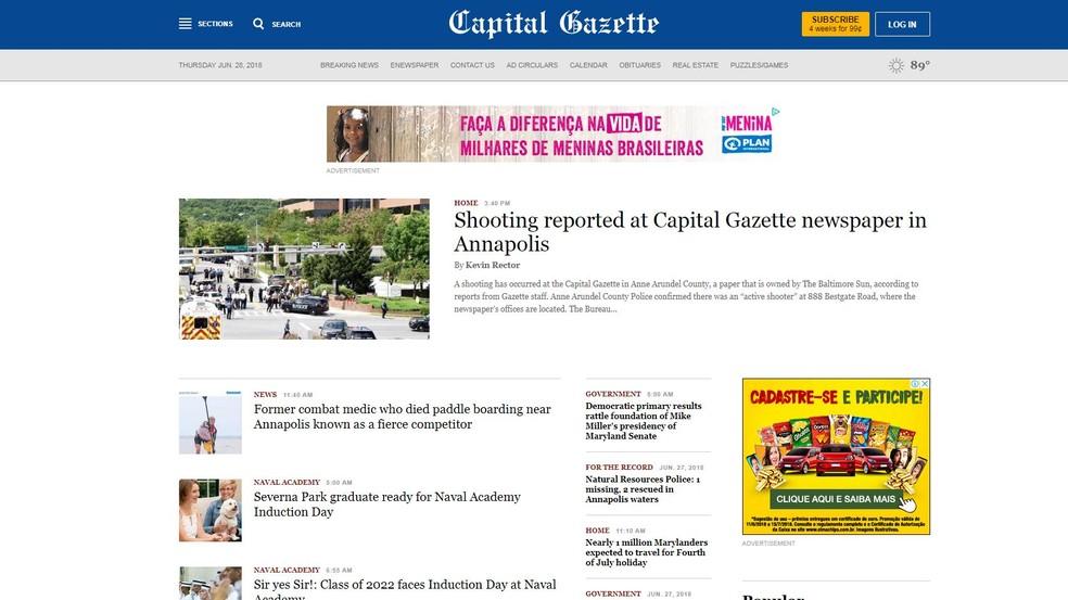Mesmo com um atirador dentro do próprio edifício, o jornal publicou a notícia do ataque em seu site (Foto: Reprodução/Capital Gazette)