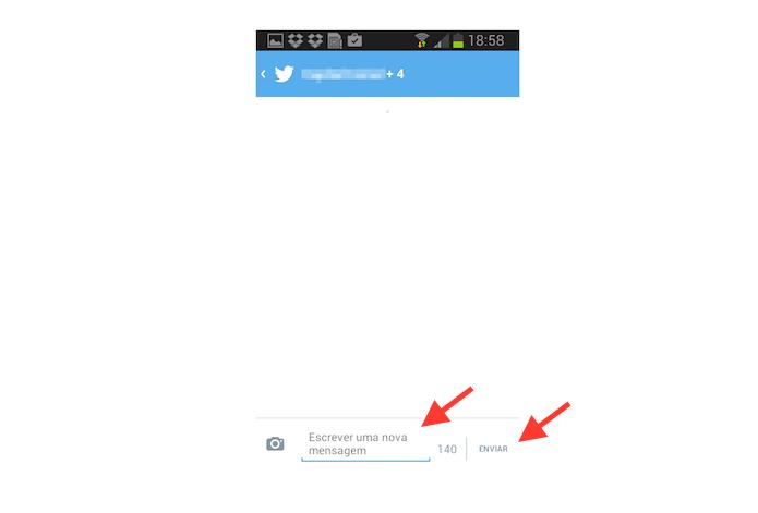 Enviando uma mensagem direta em grupo no Twitter para Android (Foto: Reprodução/Marvin Costa)