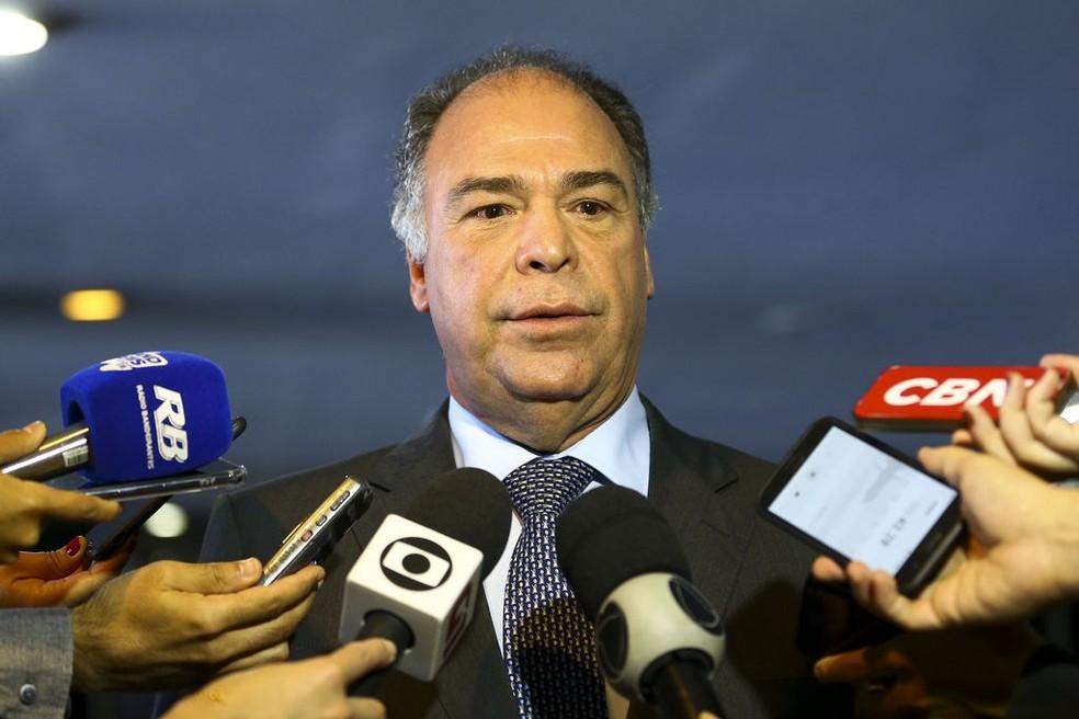 Senador Fernando Bezerra Coelho (MDB-PE) durante entrevista coletiva em maio deste ano — Foto: Marcelo Camargo/Agência Brasil
