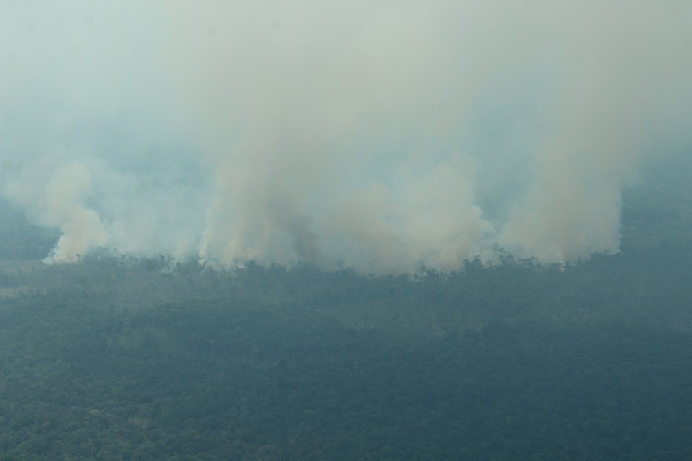 Fumaça de queimadas pode ser vista de longe no Amazonas — Foto: Jonatas Boni/G1