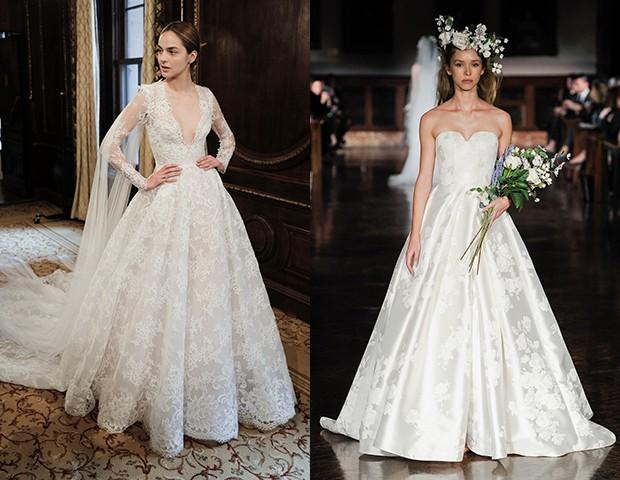 Vestidos de noiva Monique Lhuillier e Reem Acra (Foto: Imaxtree)