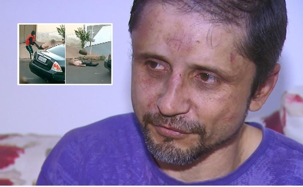 Pai luta com ladrões para impedir roubo de remédio do filho em São Carlos — Foto: Reprodução/EPTV