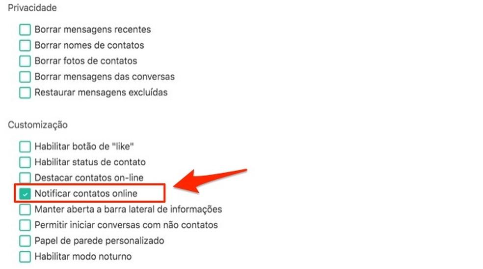 Ação para ativar alertas para contatos online no WhatsApp com a extensão WA Web Plus para Chrome — Foto: Reprodução/Marvin Costa