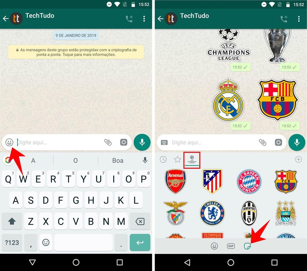 Envie adesivos da Champions League para os amigos e grupos do WhatsApp — Foto: Reprodução/Rodrigo Fernandes