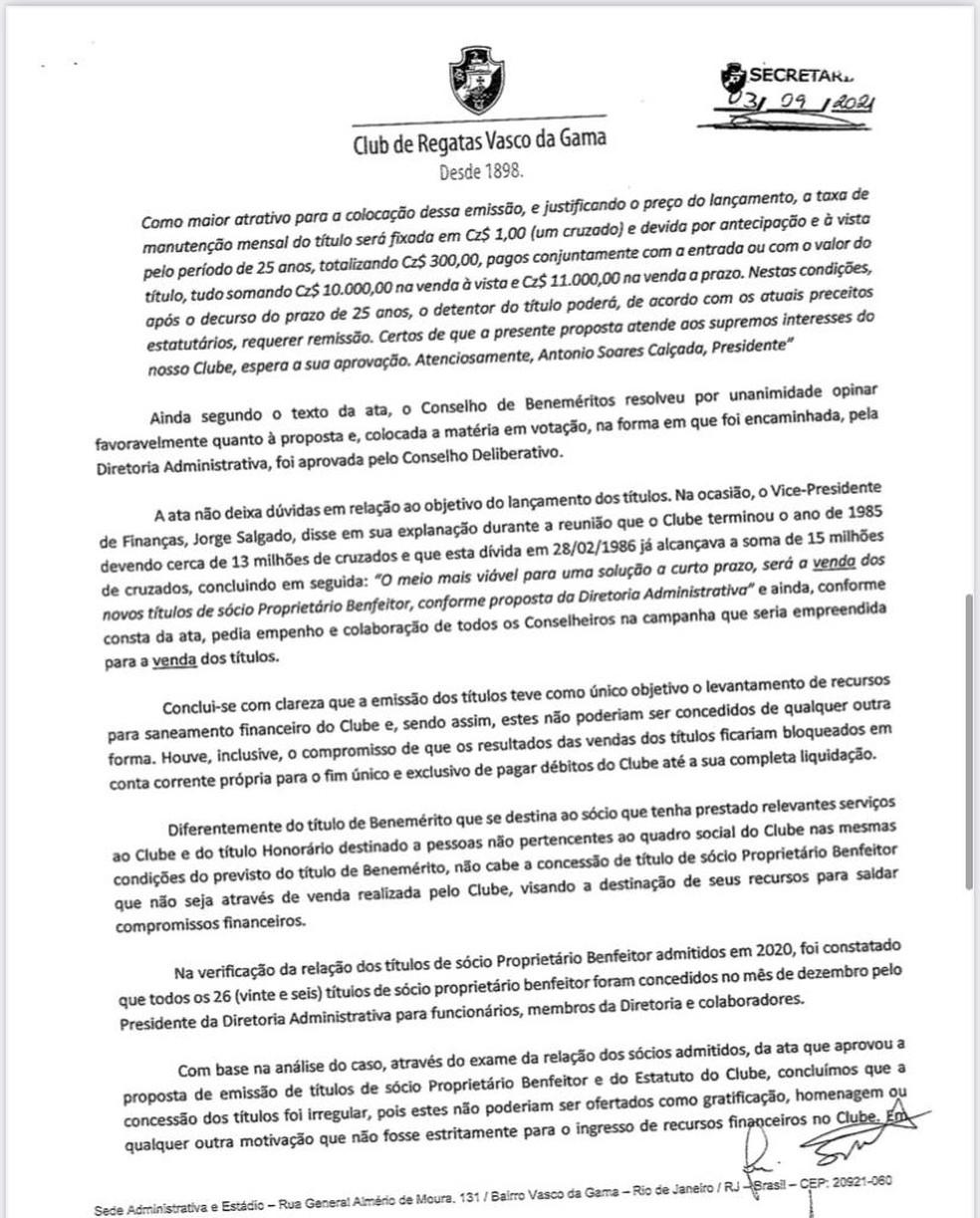 Relatório do Conselho Fiscal sugere reprovação das contas de 2020 do Vasco — Foto: Reprodução