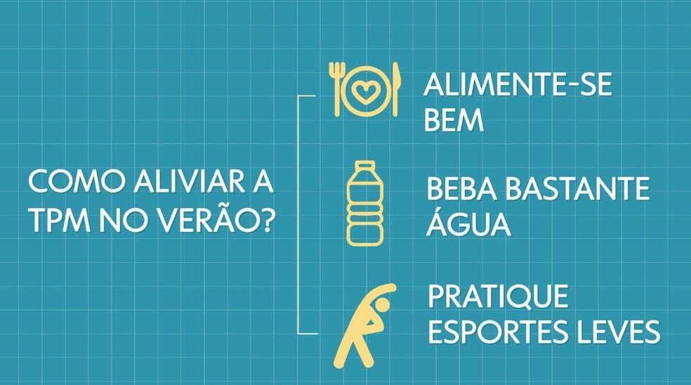 Como aliviar a TPM no verão? — Foto: Arte/TV Globo